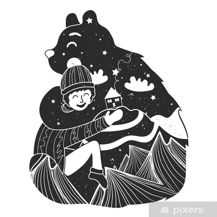 Papier peint vinyle Vector illustration enfantine avec ours et petit garçon. affiche Typographie avec des montagnes, la maison, des étoiles et des nuages à l'intérieur - Animaux
