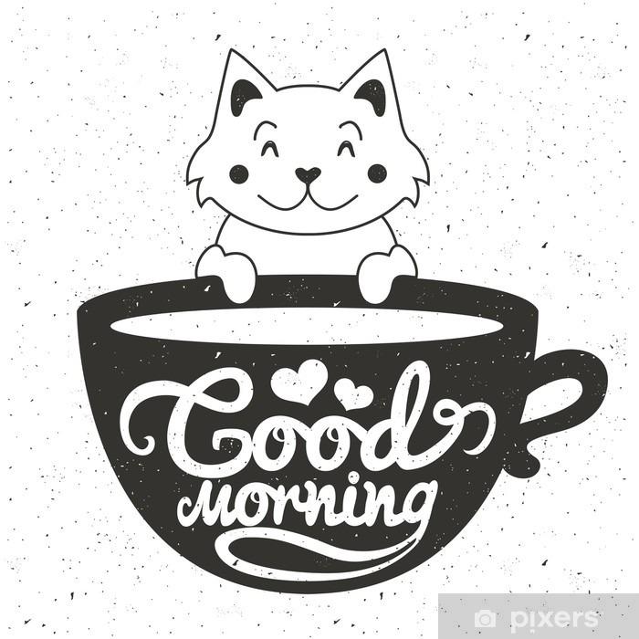 Plakat Ilustracja wektorowa cute mały biały kot z filiżanką kawy lub herbaty. Dzień dobry litery tekstu - Napoje