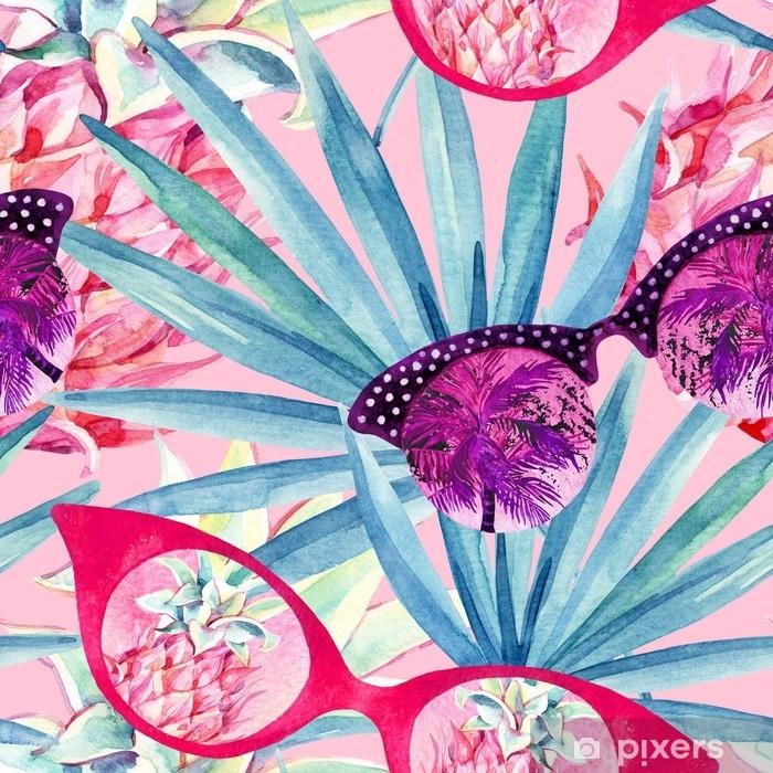 Naklejka Pixerstick Okulary przeciwsłoneczne z palmą, liście palmowe wentylatora i ananasy. - Zasoby graficzne
