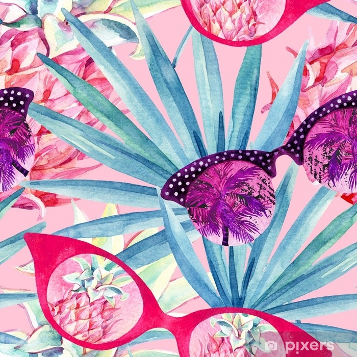 Sticker Pixerstick Lunettes de soleil avec palmier, éventail feuille de palmier et ananas. - Ressources graphiques