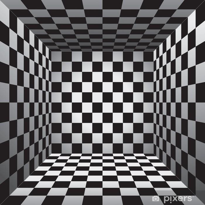 Naklejka Pixerstick Plaid pokój, czarno-białe komórki, 3d szachownica, wektor wzór tła - Zasoby graficzne