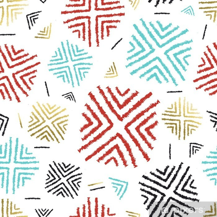 Colorful background with abstract tribal art Pixerstick Sticker - Graphic Resources