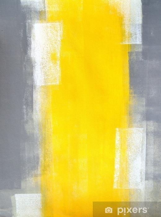 Sticker Pixerstick Peinture d'art abstrait gris et jaune - Ressources graphiques
