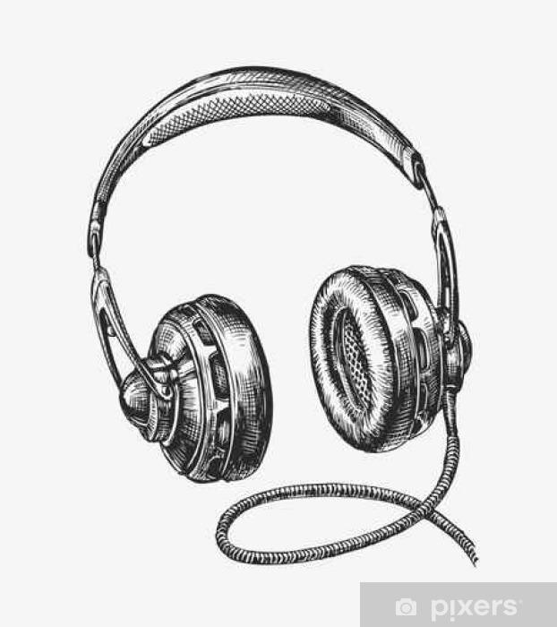 Fototapeta winylowa Ręcznie rysowane rocznika słuchawek. Szkic muzyki. ilustracji wektorowych - Technologia