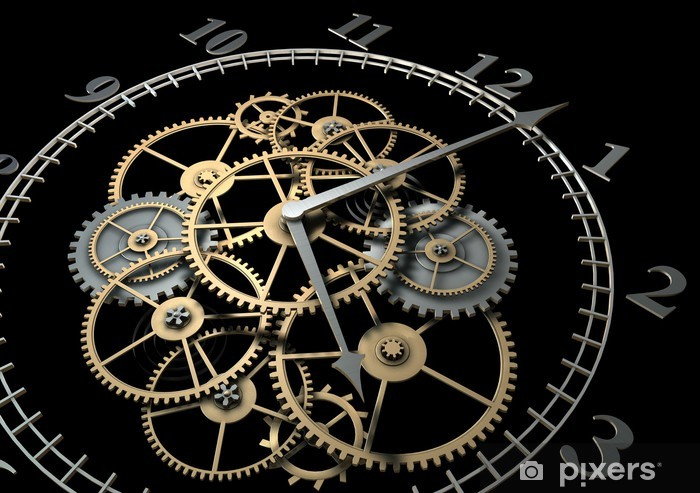 3d Clock with Cogs on Dark Background Vinyl Wall Mural - Clocks