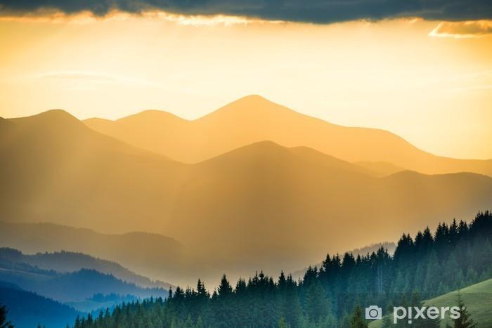 Sticker Pixerstick Beau coucher de soleil dans les montagnes - Détente