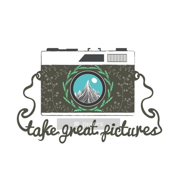 Vinilo para Pared Vector de la cámara inconformista de la vendimia con las montañas. Tomar excelentes fotografías. - Viajes