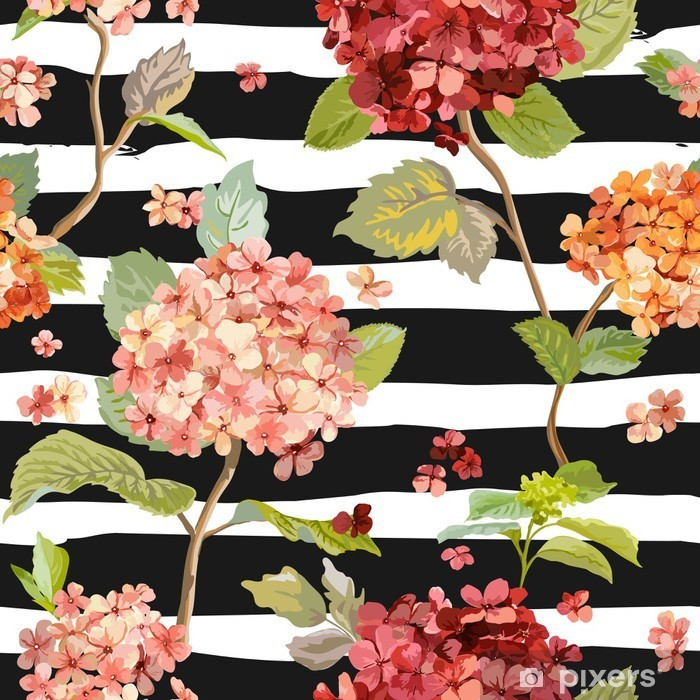 Pixerstick Sticker Vintage Flowers - Floral Hortensia Achtergrond - Naadloos Patroon - Herfst