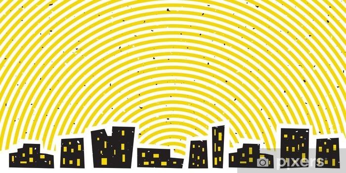 Pixerstick Sticker Abstracte nachtcityscape met heldere stralende hemel - Gebouwen en Architectuur