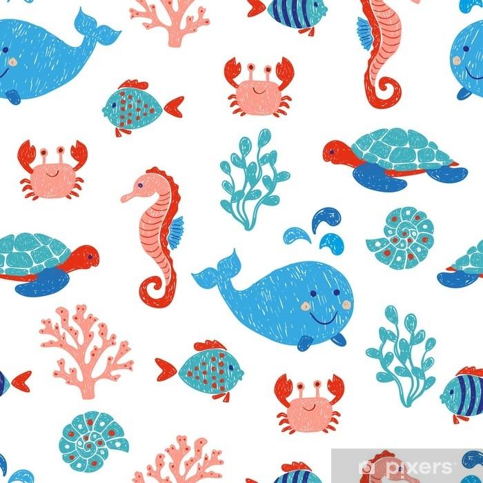 Carta Da Parati Simpatici Animali Marini Seamless Nei Colori Blu E