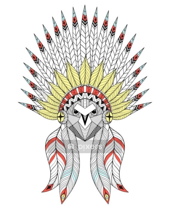 Vektori zentangle owl, jossa on sota konepelti. amerikkalaista alkuperäistä päähineitä Seinätarra - Eläimet