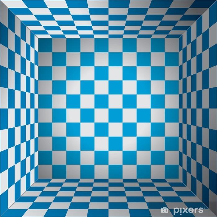Pixerstick Sticker Plaid room, blauwe en witte bloedcellen, 3d Schaken vak, oktoberfest vectorontwerpachtergrond - Grafische Bronnen