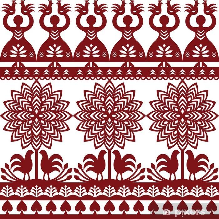 Vinilo para Nevera Sin fisuras patrón polaco del arte popular wycinanki Kurpiowskie - Papercuts Kurpie - Recursos gráficos