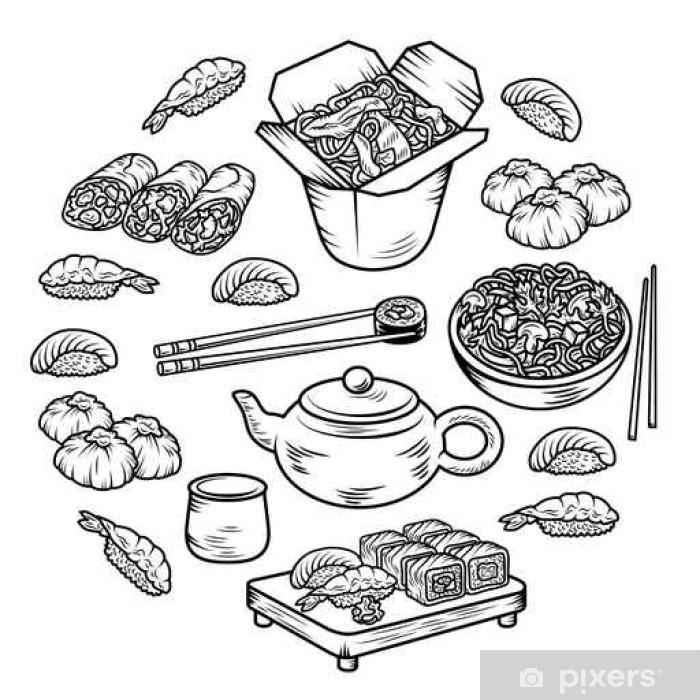 Fotomural Estándar Establecer iconos con elementos de la cocina china y asiática del vector dibujado a mano - Comida
