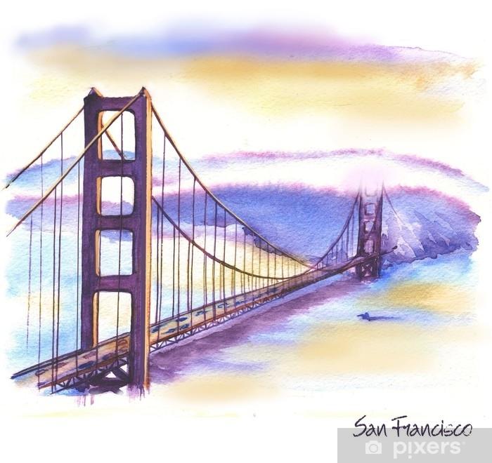 Dessin Du Pont De San Francisco papier peint lavable dessin aquarelle dessinés à la main du paysage