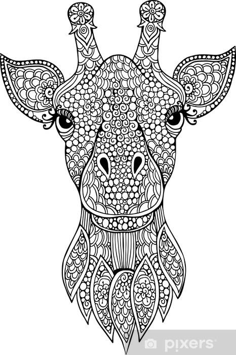Boyama Kitabı Için çizilmiş Doodle Zürafa Baş Illüstrasyon Duvar