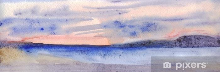 Zelfklevend Fotobehang Panoramische avondhorizon. lucht, bergen, zee, strand. aquarel schilderij - Landschappen