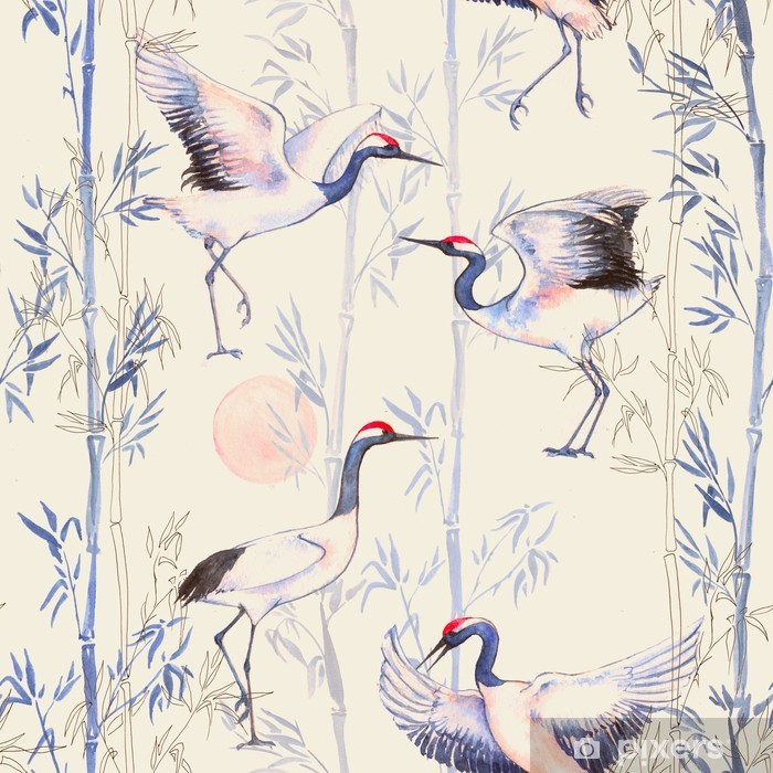 Mural de Parede em Vinil Teste padrão sem emenda desenhado da aguarela mão com brancas guindastes dança japoneses. fundo repetido com aves delicadas e bambu - Animais
