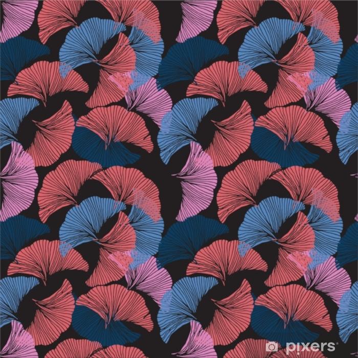 Fototapeta winylowa Wektor kolorowy wzór. ręcznie rysowane liści ginkgo biloba. - Zasoby graficzne