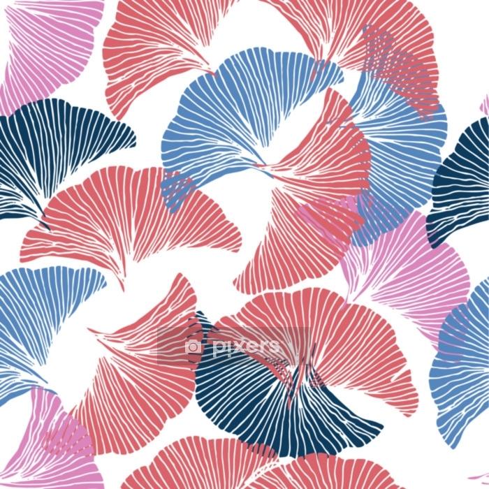 Funda de edredón Vector de patrones sin fisuras de colores Dibujado a mano hoja de ginkgo biloba. - Recursos gráficos
