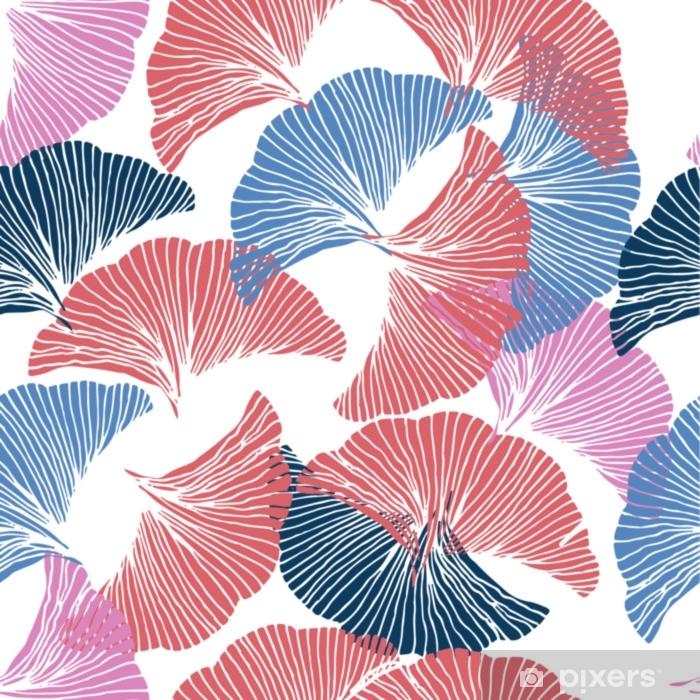 Funda de almohada Vector de patrones sin fisuras de colores Dibujado a mano hoja de ginkgo biloba. - Recursos gráficos