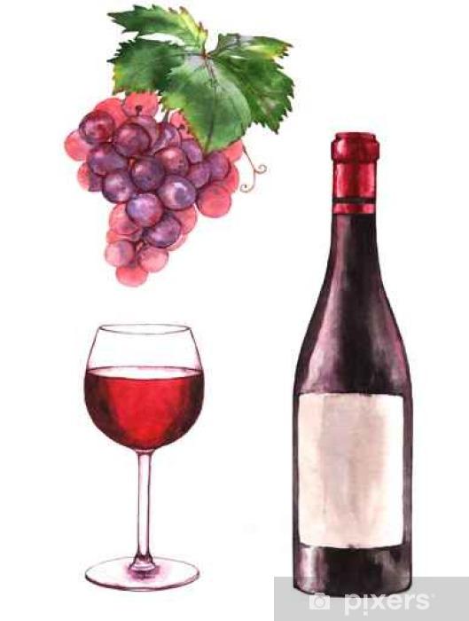 Sticker Aquarelle dessinée à la main illustration de la bouteille de vin, le raisin et un verre de vin rouge. Dessin isolé sur le fond blanc