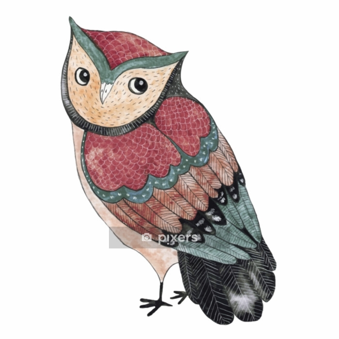Watercolor funny kids illustration with owl Wall Decal - Animals