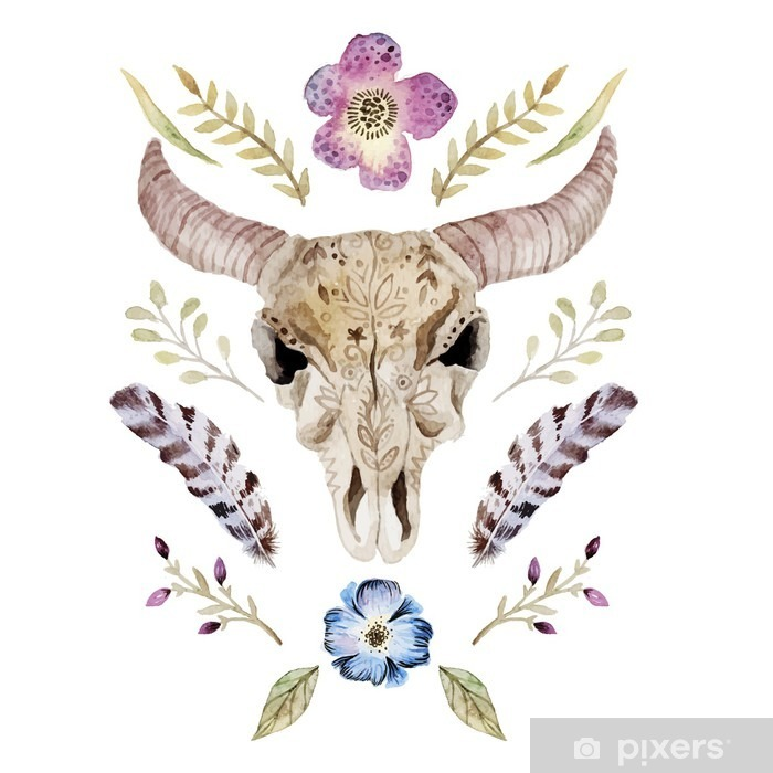 Watercolor vector boho illustration with skull Poster - Graphic Resources