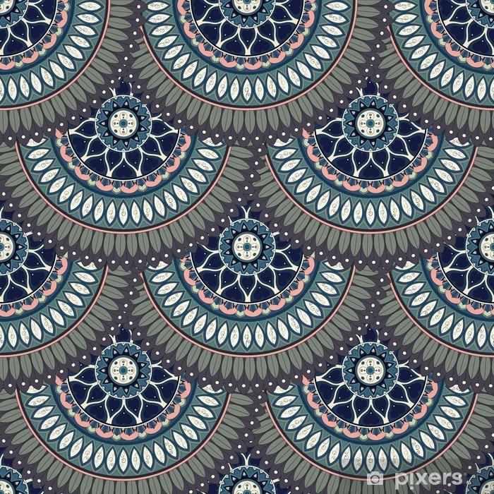 Sticker Pixerstick Ornement seamless texture floral, motif sans fin avec des éléments de mandala vintage. - Ressources graphiques