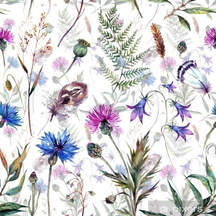 Naklejka Pixerstick Ręcznie rysowane kwiaty akwarela - Rośliny i kwiaty