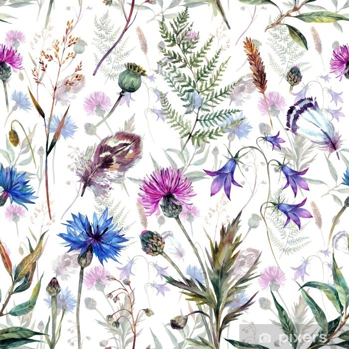 Hand drawn watercolor wildflowers Self-Adhesive Wall Mural - Plants and Flowers