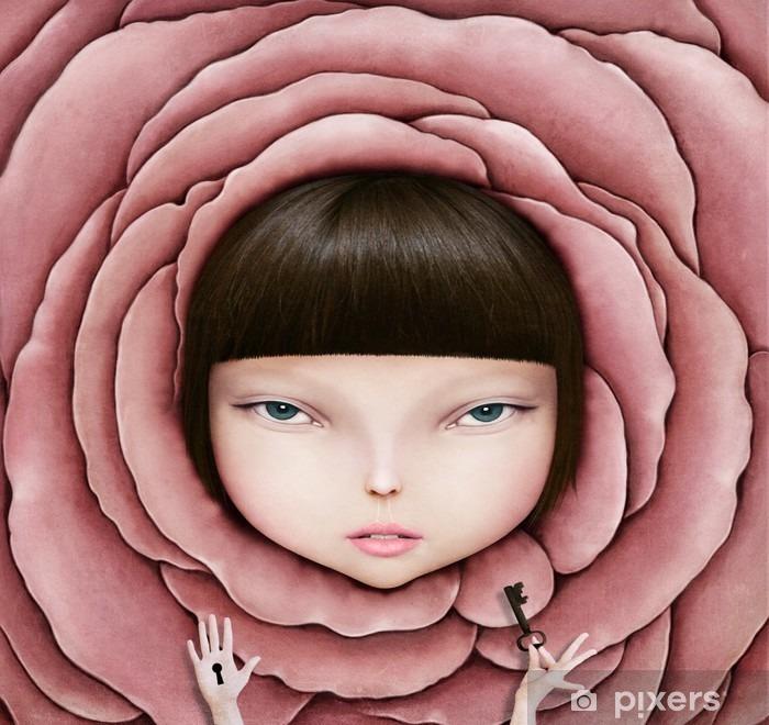 Plüschdecke Konzeptionelle Darstellung oder ein Plakat mit dem Kopf eines Mädchens in Rosenblüte mit Schlüssel in der Hand. - Hobbys und Freizeit