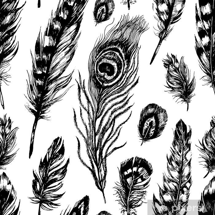 Seamless pattern made of feathers Pixerstick Sticker - Animals