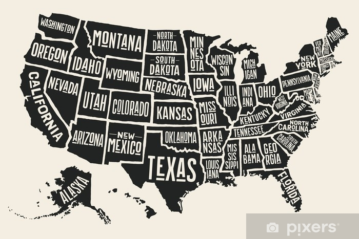 Poster map of United States of America with state names. Black and on calendar stickers, kentucky stickers, hawaii map stickers, usa patchwork map stickers, wyoming stickers, barbados map stickers, mississippi stickers, states visited maps stickers, north carolina stickers, united states state abbreviations,