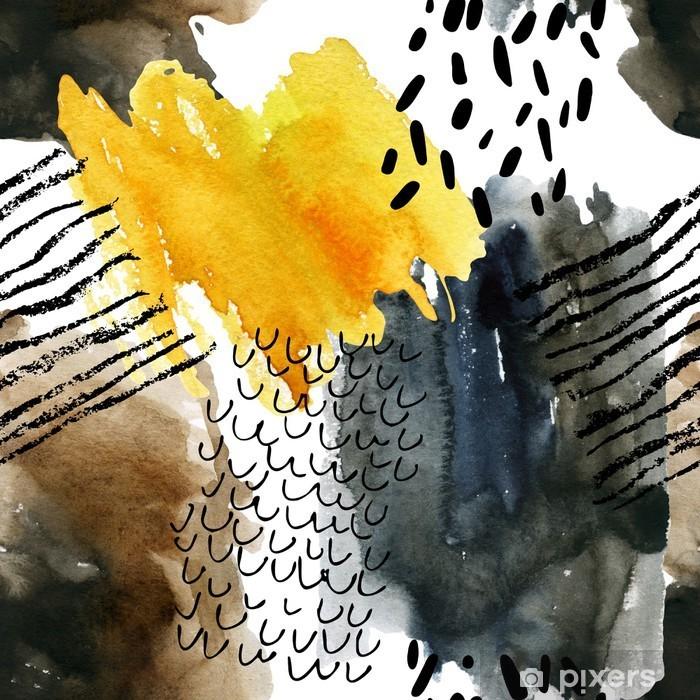 Abstrakti vesiväri saumaton malli syksyn värejä. Vinyyli valokuvatapetti - Industrial