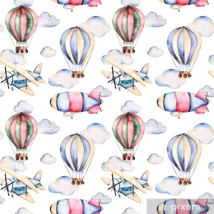 Papier peint vinyle Seamless avec des ballons d'air, dirigeable, les nuages et le plan de ballons à air pastel colors.Watercolor joliment décoré sur fond blanc et d'autres aircrafts.Perfect pour le papier peint - Transports