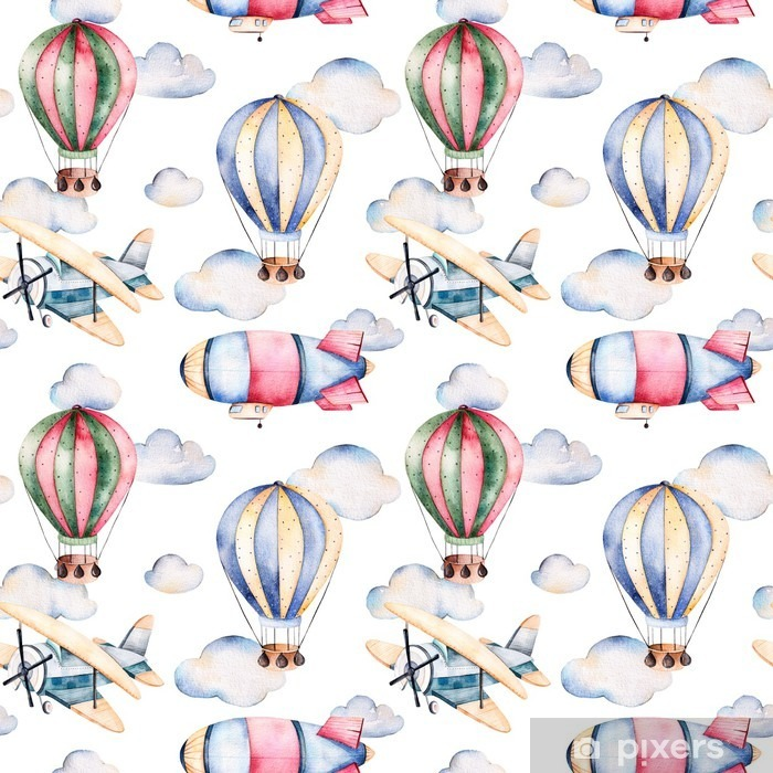 Seamless pattern with air balloons,airship,clouds and the plane in pastel colors.Watercolor air ballons beautifully decorated on white background and other aircrafts.Perfect for wallpaper Poster - Transport