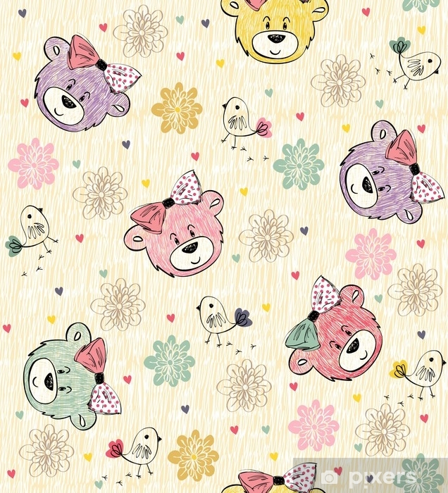 Cute hand draw seamless pattern with cartoon bear Self-Adhesive Wall Mural - Animals