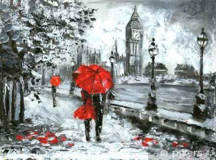 Fototapete ölgemälde Blick Auf Die Straße Von London Kunst Schwarz Weiß Und Rot Big Ben