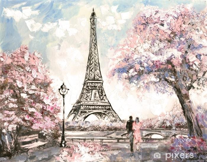Yagli Boya Paris Sokak Gorunumu Ihale Manzarasi Ilkbahar Duvar
