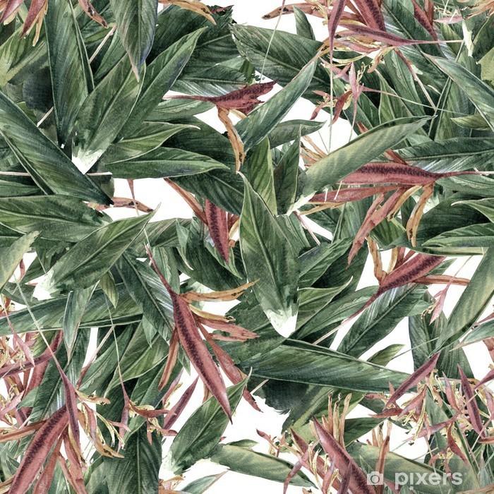 Vinyl Fotobehang Aquarel schilderen van bladeren en bloemen, naadloos patroon - Hobby's en Vrije tijd