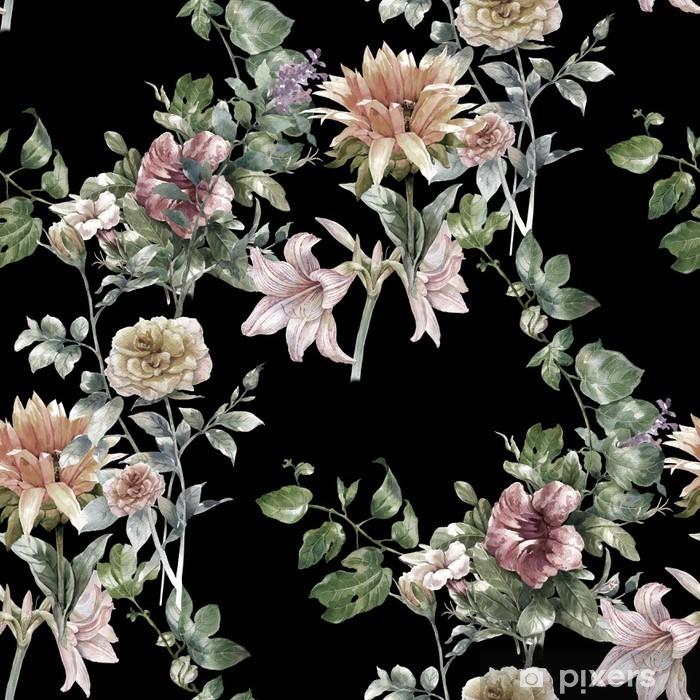 Naklejka Pixerstick Akwarela liści i kwiatów, szwu na ciemnym tle, - Hobby i rozrywka