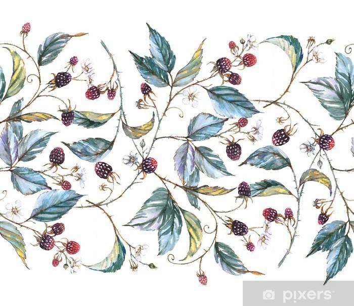 Fotomural Estándar Ornamento sin fisuras acuarela dibujado a mano con motivos naturales: ramas de zarzamora, hojas y bayas. Repetida ilustración decorativa, frontera con bayas y hojas -