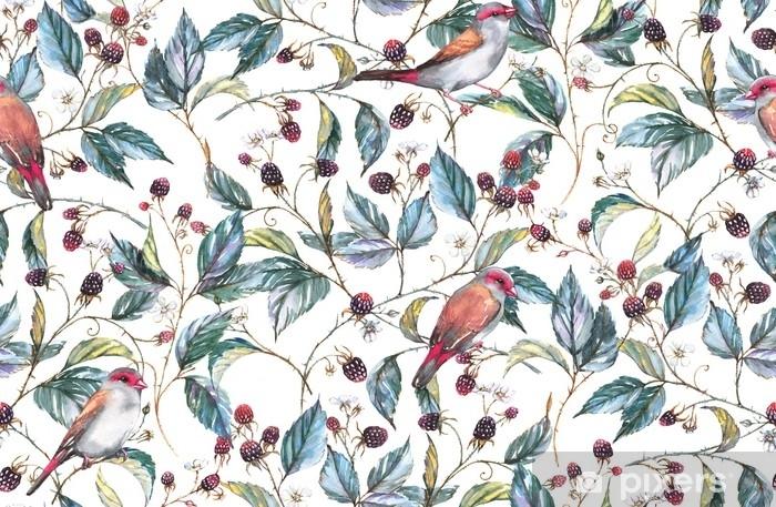 Pixerstick-klistremerke Håndtegnet akvarell sømløs mønster med naturlige motiver: Brombærgrener, blader, bær og ville fugler - finker. gjentatt bakgrunn, skriv ut for tekstil og bakgrunnsbilder - Planter og Blomster