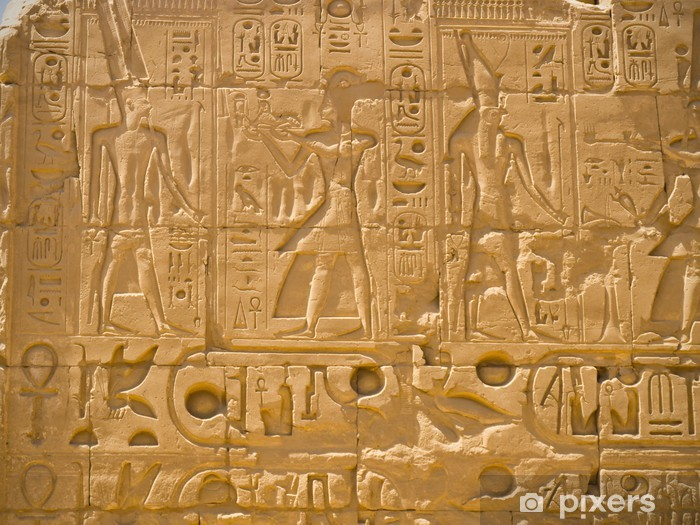 Sticker Pixerstick Bas-reliefs de Ramses au temple de Karnak, Thèbes - Afrique