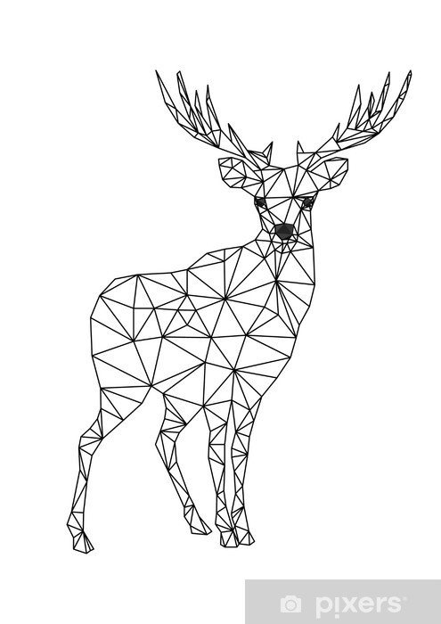 Low Poly Character Of Deer Designs For Xmas Christmas