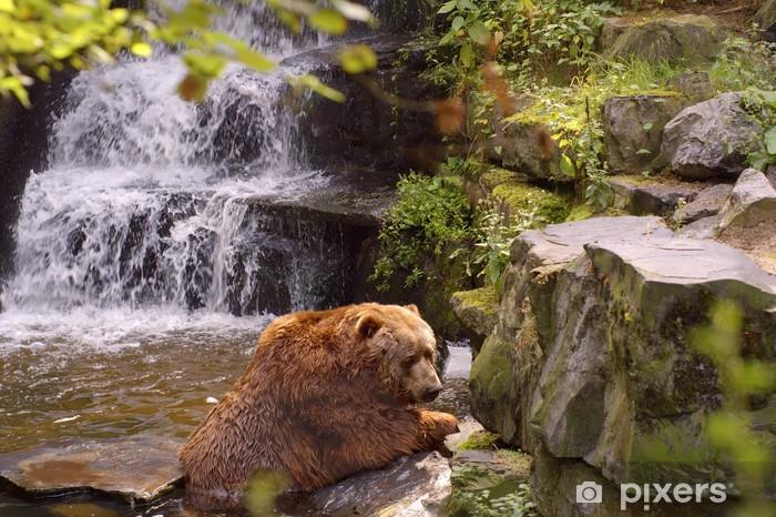 Sticker Pixerstick Énorme ours brun dans l'eau - Thèmes