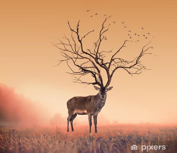 Papier peint vinyle Conceptuel cerf Deer, un arbre sec cerf rouge cerf - Animaux