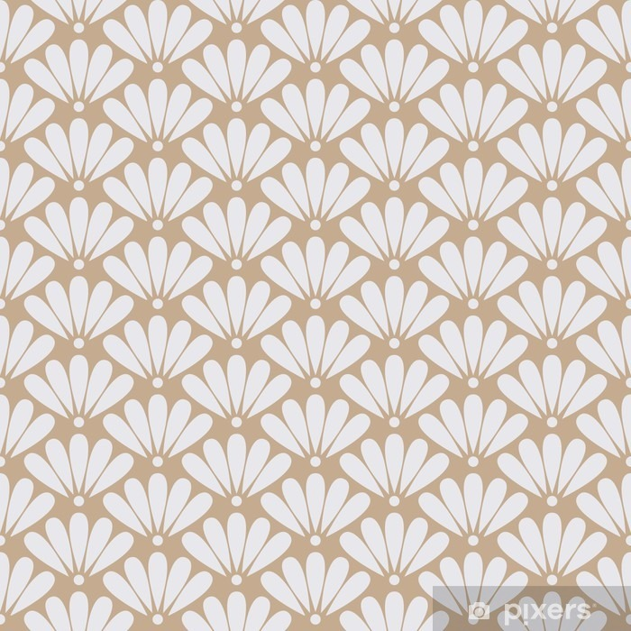 Seamless beige oriental floral pattern vector Vinyl Wall Mural - Graphic Resources