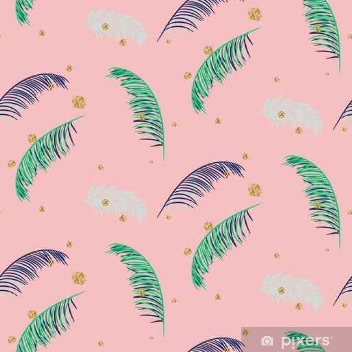 Fotomural Estándar Palma del plátano verde azul deja el modelo inconsútil del vector en el fondo de color rosa. hoja de la selva tropical del plátano. - Recursos gráficos